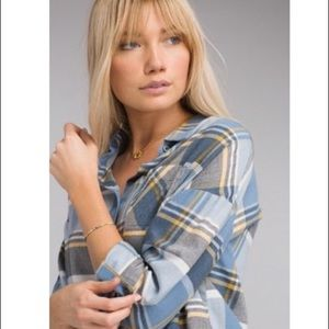 PRANA | Blue & Yellow Plaid Percy Top Flannel M
